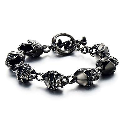 4da6d0029553a COOLSTEELANDBEYOND Black Skull Bracelet for Men for Boys Stainless Steel  High Polished Gothic Punk