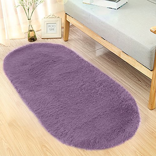 Noahas Ultra Soft 4.5cm Velvet Bedroom Rugs Kids Room Carpet Modern Shaggy Area Rugs Home Decor 2.6' X 5.3', Gray-purple
