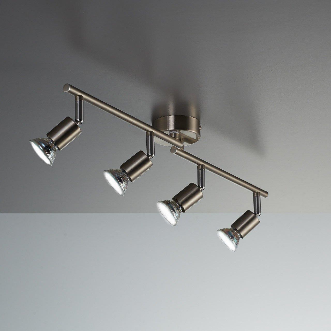 LED Deckenleuchte Schwenkbar Inkl 4 X 3W Leuchtmittel 230V GU10 IP20 Strahler Deckenlampe Spots Wohnzimmerlampe Deckenspot