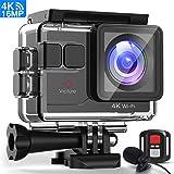 Victure Action Cam 4K WiFi Ultra HD Microfono Esterno Fotocamera Subacquea con Telecomando EIS Funzione Videocamera Impermeabile 40M 170°Grandangolare 5.08cm Schermo/Due Batterie/Accessori Kit