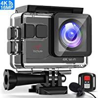 Victure 4K Action Camera Waterproof 40M Video Cam 16MP WIFI 170°Wide Angle Sports Underwater Cameras with EIS/External Microphone/Remote control/ 2 Rechargeable Batteries/Accessories kits