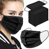50Pcs Disposable Face Masks, 3-ply Disposable Masks Black Face Mask with Elastic Ear Loop, Medical Masks Breathable Dust…