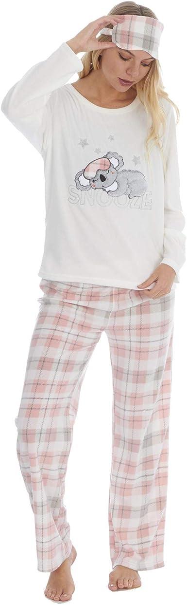 Pijama Largo de Lana Suave de Lujo para Mujer con Antifaz a Juego Gratis