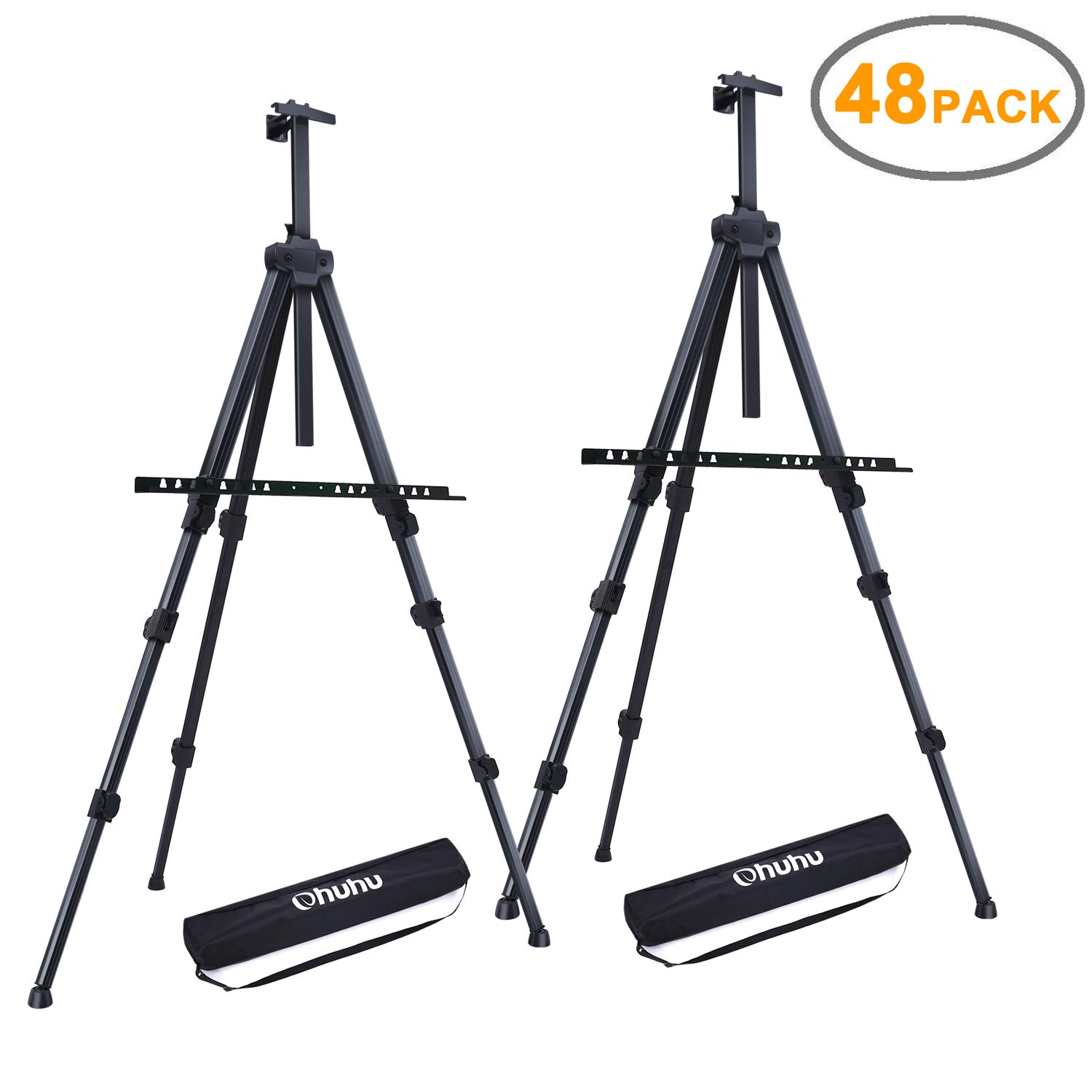 Display Easel Stand, Ohuhu 48-Pack 72'' Aluminum Metal Tripod Field Easel with Bag for Table-Top/Floor, Black Art Easels W/Adjustable Height from 25-72'' for Poster, Paint Back to School