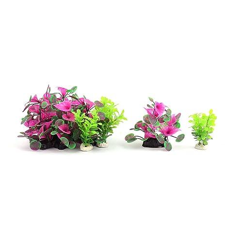 sourcing map Acuario de plástico Planta Emulational Paisajismo decoración Verde Violeta 10 en 1