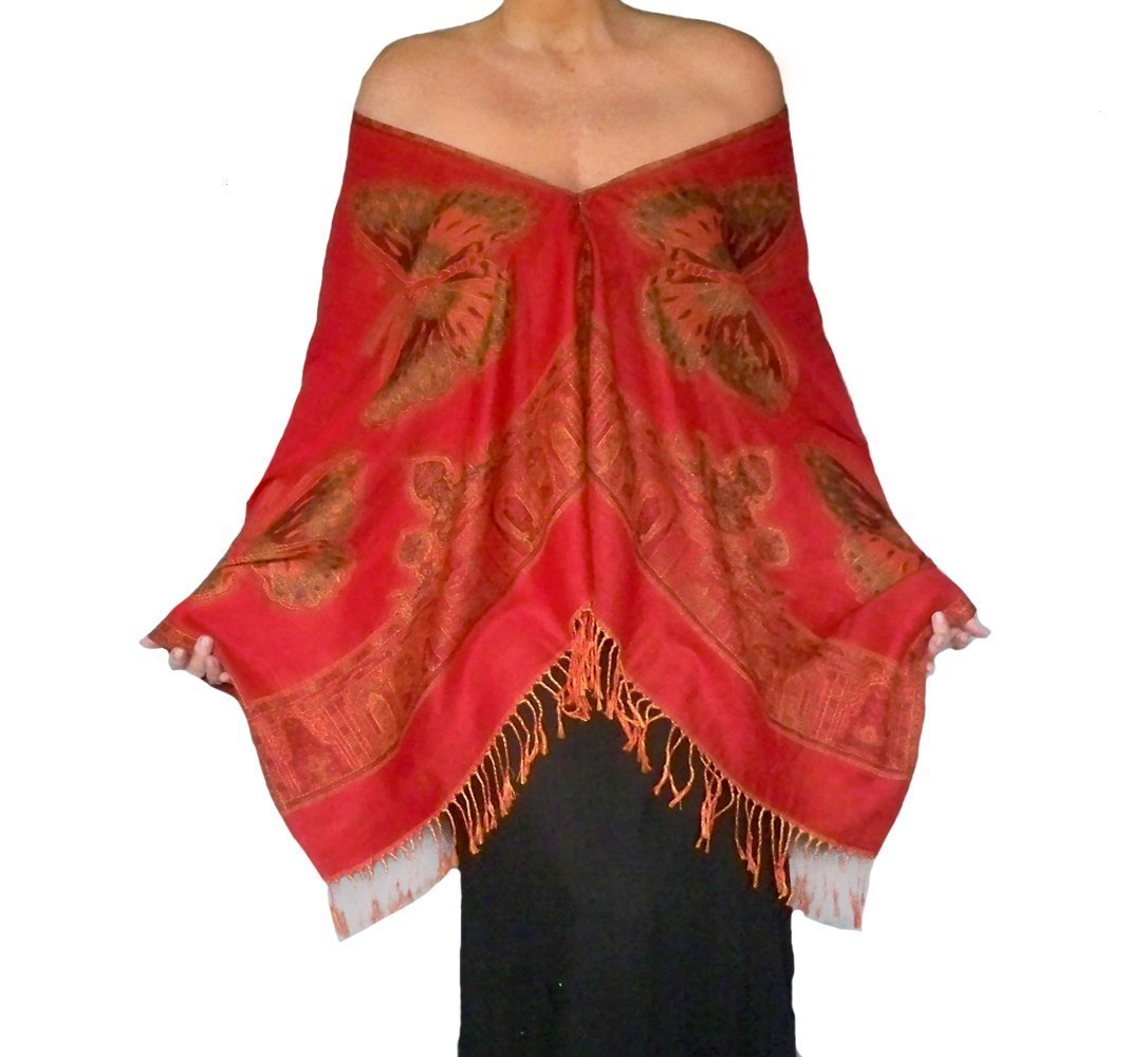 Plus Size Butterfly Shawl Loose Red Pashmina Wrap By ZiiCi