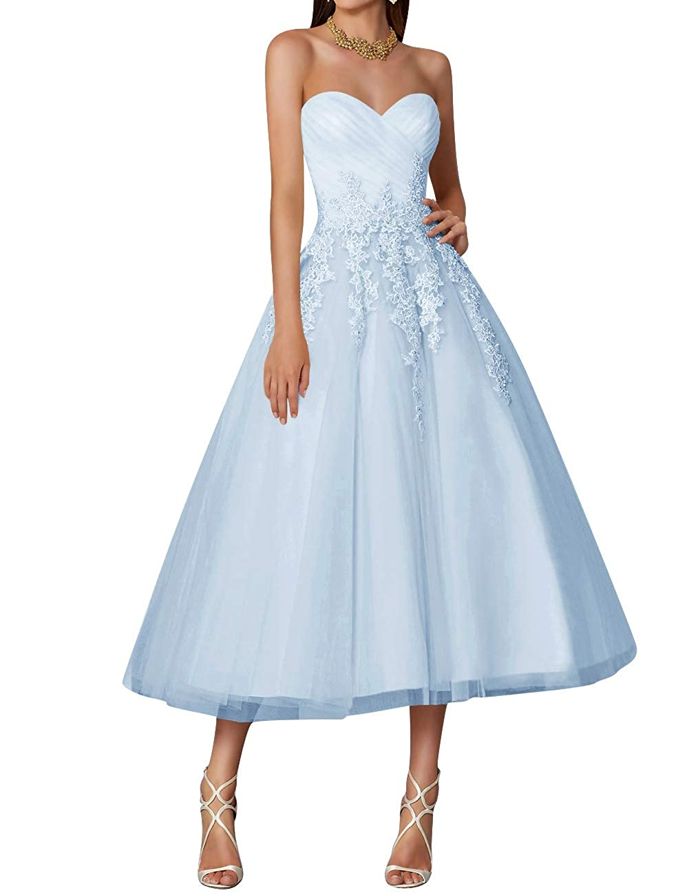 Sky bluee Wedding Dress Tulle Tea Length Prom Party Gowns Sweetheart Lace Vintage