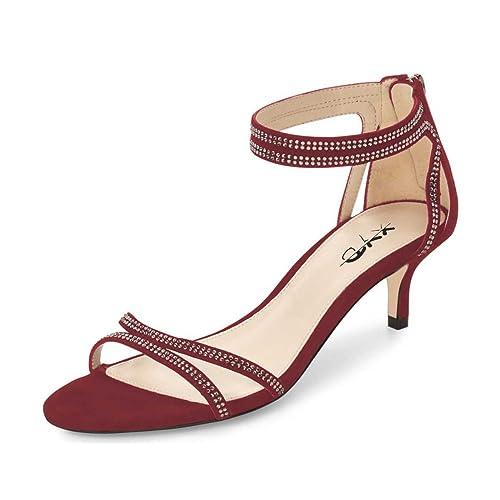96b4f7a9082495 XYD Women Open Toe Low Heel Strappy Rhinestone Sandals Ankle Strap Wedding  Dress Pumps with Zip