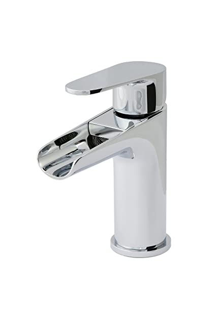 FRENZA ONE-HANDLE CHROME WATERFALL BATHROOM FAUCET WITH POP-UP DRAIN on