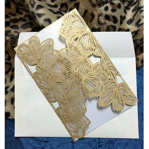 - Flower Hollow Laser Cut Lace Shimmer Wedding Invitation Party Invitations Cards Birthday Invitations Cards Wedding Favors (20Pcs) (Gold)