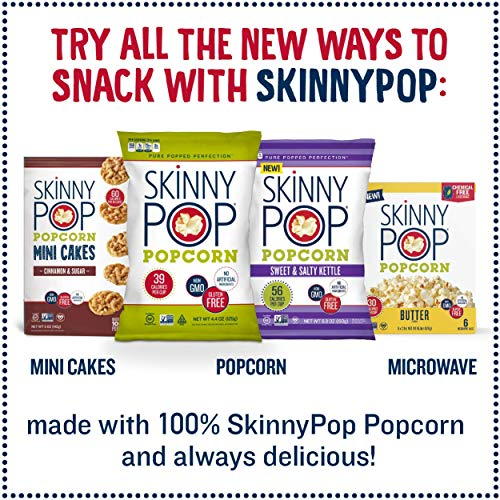 SkinnyPop Original Popped Popcorn, Vegan, Gluten-free, Non-GMO, Healthy Snacks, 4.4oz Grocery Sized Bags (Pack of 12)