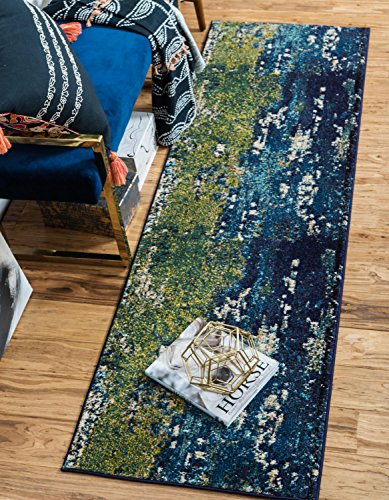 Unique Loom Estrella Collection Vibrant Abstract Navy Blue Runner Rug (2