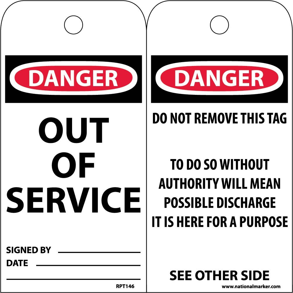 NMC RPT146 Accident Prevention Tag, ''DANGER OUT OF SERVICE'', 3'' Width x 6'' Height, Unrippable Vinyl, Black/Red on White (Pack of 25)