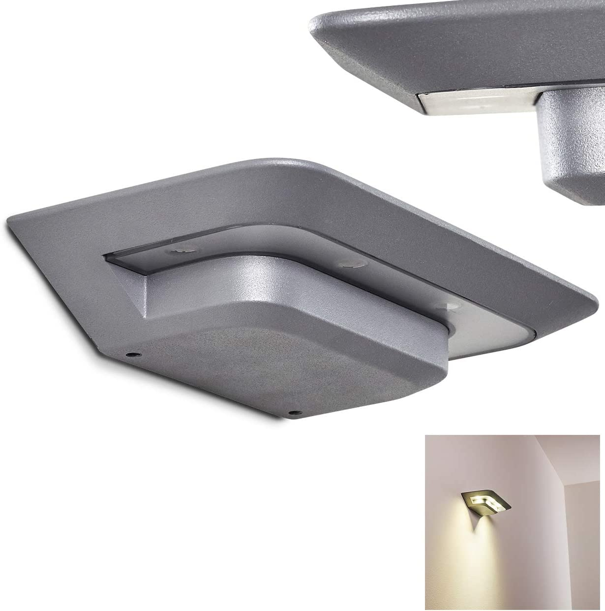 Aplique de exterior LED Sonderhav de aluminio plateado, 12 vatios, 702 Lúmenes, 4100 Kelvin, IP 54, ideal para fachada y puerta de entrada.: Amazon.es: Iluminación