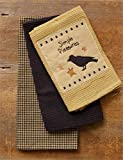 Country Primitive Simple Pleasures Black Bird Dishtowel Set of 3 Cotton Tea Towels