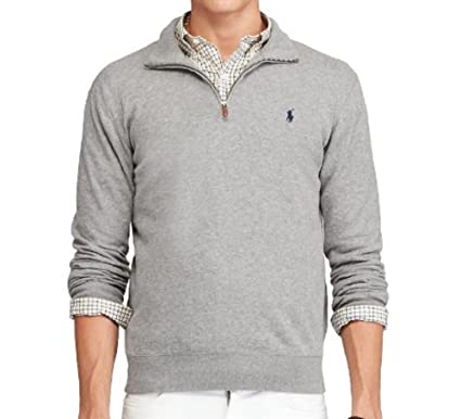 Polo Ralph Lauren Men\u0027s Cotton Half-Zip Pullover Sweater at Amazon Men\u0027s  Clothing store: