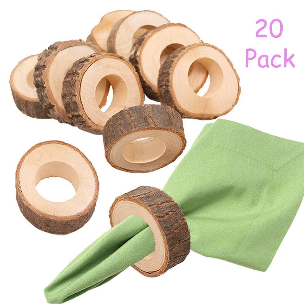 BARK WOOD Napkin Ring set of 4 rustic charm