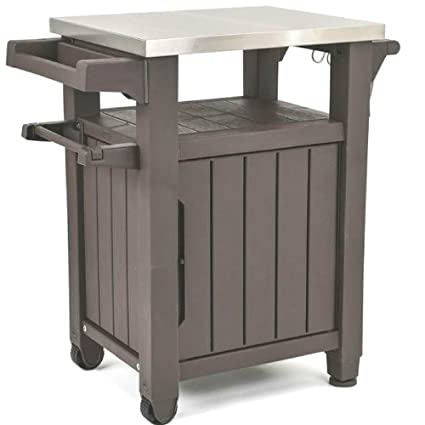 Bbq Side Table With Storage.Amazon Com Rolling Storage Bench Resin Patio Serving Side