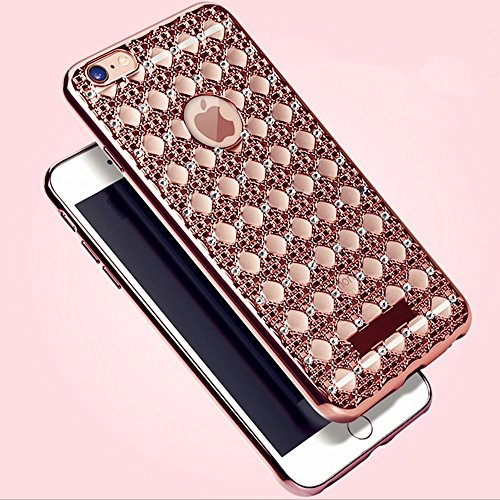 Case for iPhoneSE/5/5s-Auroralove Rose Gold Super Soft Shiny Bling Crystal TPU Rhinestone iPhone 5/5s Cover for Girls (Iphone 5 Crystal Bling Case compare prices)