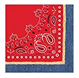 Creative Converting 3-Ply Bandanarama Lunch Napkins, Red (Value Pack: 48 Count)
