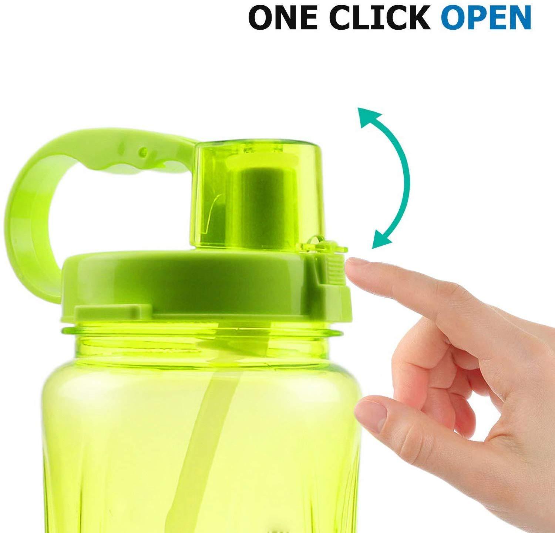Impermeables para Viajes ASeeker Botellas de Agua Deportivas DE 1.5 litros Camping Antigoteo de Gran Capacidad Pajita y Cepillo de Limpieza con Correa para el Hombro