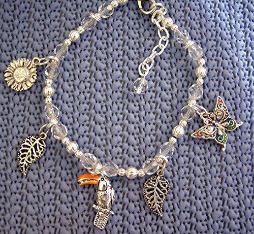 Crystal Toucan (Handmade Silver Toucan Charm Bracelet-Toucan lover, Glass crystals, Pearl Bracelet,gift for her)