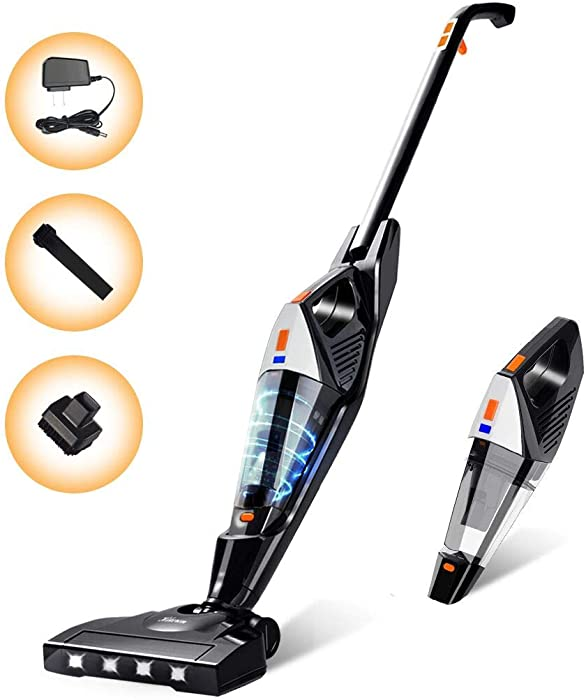 Cordless Vacuum, Hikeren Stick Vacuum Cleaner, Powerful Lightweight 2 in 1 Cordless Stick Vacuum with Rechargeable Lithium Ion Battery for Hardwood Floor Carpet Pet Hair, White