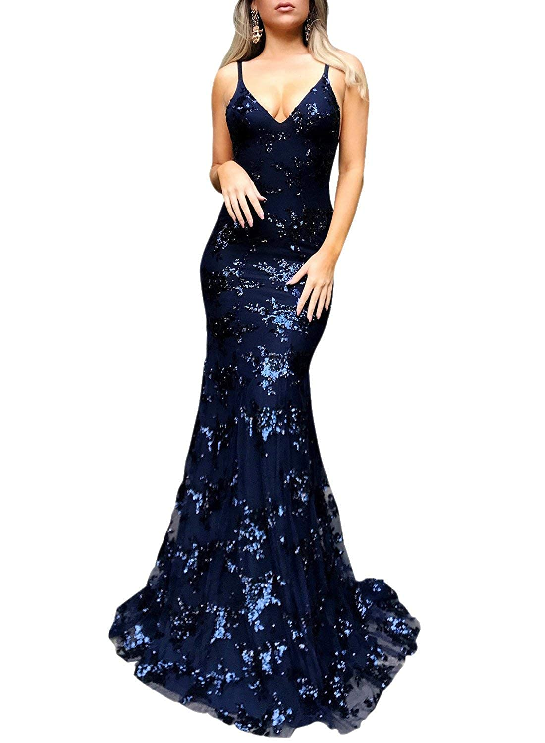 Navy bluee Dressytailor Mermaid Spaghetti Straps VNeck Tulle Lace Prom Dress Long Sequin Evening Gown