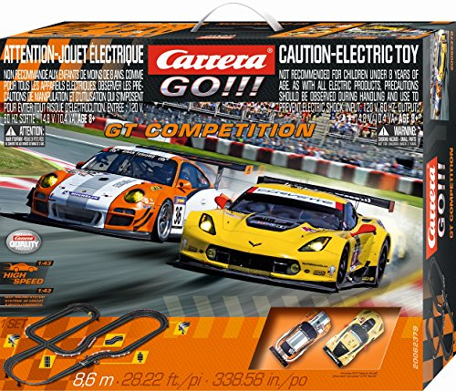 Carrera GO!!! GT Competition - Slot Car Race Track Set - 1:43 Scale - Analog System - Includes 2 Racing Cars: Porsche and Chevrolet Corvette - Two Dual-Speed Controllers with - Carrera Race Cars