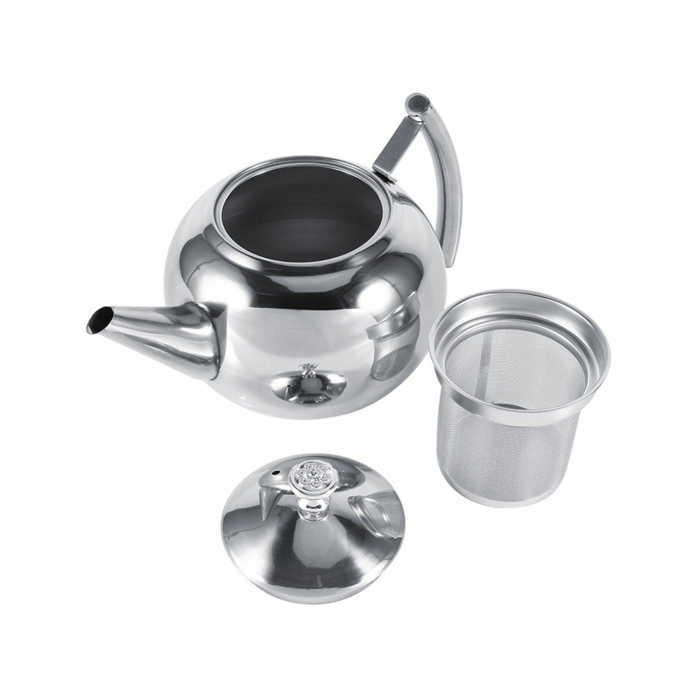 unbrand 1.5L Stainless Steel Kettle Kitchen Coffee Pot Restaurant Container Home Hotel Cafe Bar Water Jug with Filter Teapot
