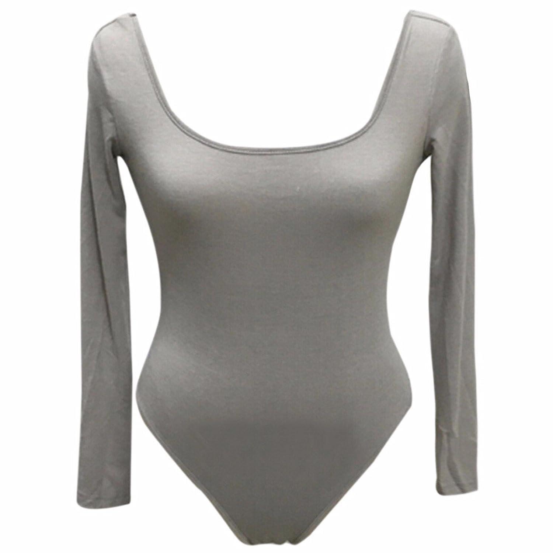 Croop Neck Solid Long SLeeves Sexy Fromal Ropers Bodysuit leotard Tops Blosues