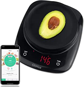 Smart Food Scale Kitchen Scale Nutrition Scale with Nutritional Calculator Calorie Counting and Diary Nourish Tracker Pull Over Coffee Scale Function App