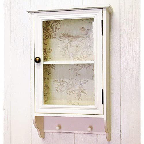 French Shabby Chic Wall Cabinet With Pegs