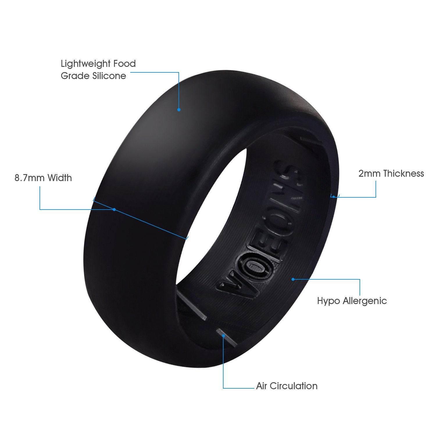 Silicone Wedding Ring Set for Men Active Rubber Wedding Band VOEONS