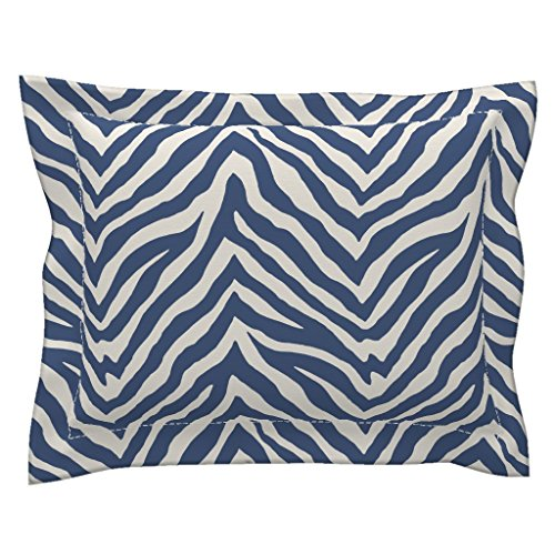(Roostery Blue Zebra Stripe Flanged Pillow Sham Zebra Animal Safari Stripes Blue Zebra Animal Stripes Safari Animal Print by Willowlanetextiles 100% Cotton Sateen)