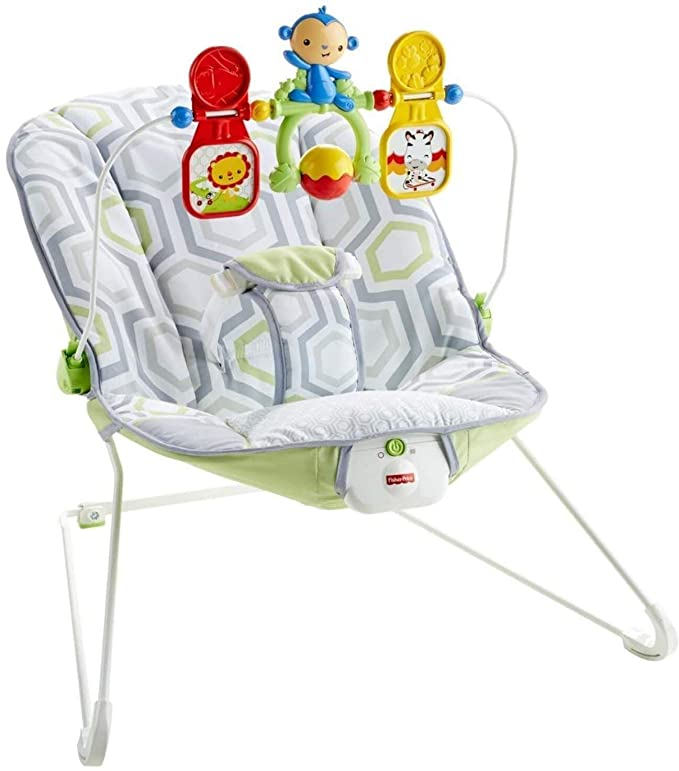 GYMAX Baby Swing Bouncer Infant Adjustable Rocking Chair with Soothing Vibrations Blue Music Box and Toys Newborn Rocker Seat for 0-36 Mouths