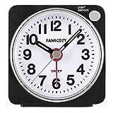 Small Lightweight Travel Alarm Clock,FAMICOZY Quiet Non Ticking Analog Alarm Clock Snooze Light,Sound Crescendo,Mini Quartz Alarm Clock,Battery Operated(Black)