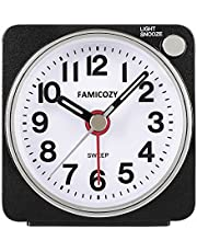 Small Lightweight Travel Alarm Clock,FAMICOZY Quiet Non Ticking Analog Alarm Clock with Snooze and Light,Sound Crescendo,Mini Quartz Alarm Clock,Battery Operated(Black)