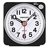 (Black) - Small Lightweight Travel Alarm Clock,Famicozy Silent Non Ticking