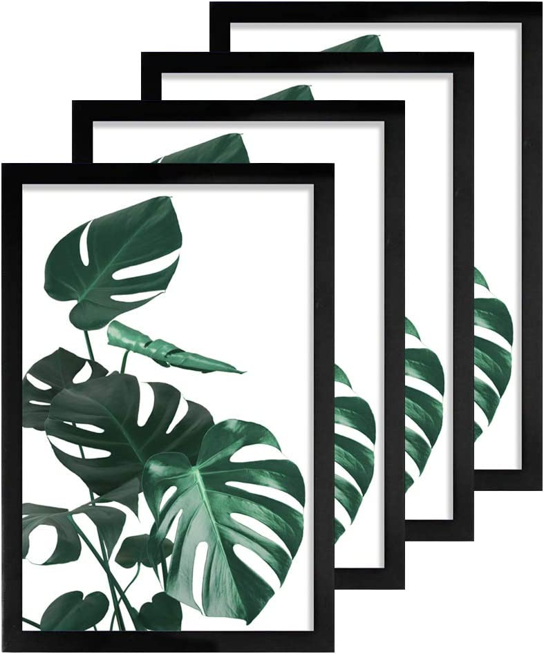 Loveinside 11x17 Frame Black for 11x17 Inch Picture Made of Solid Wood Poster Frame for Wall Mounting Home Decor, Set of 4
