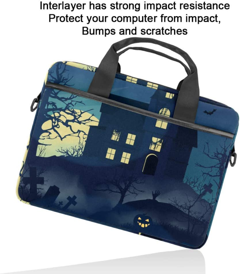 Gloomy House in The Forest Laptop Case Canvas Pattern Briefcase Sleeve Laptop Shoulder Messenger Bag Case Sleeve for 13.4-14.5 inch Laptop Briefcase