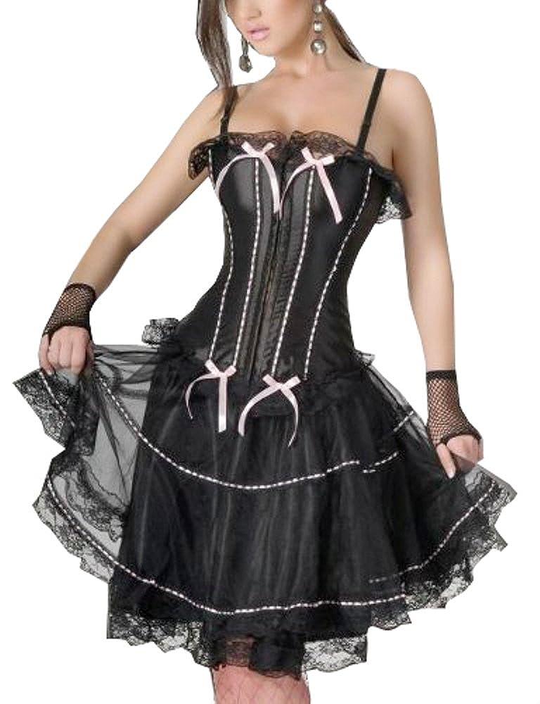 signore stunning corsetto nero con il nastro rosa con il vestito