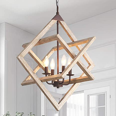 Wooden Farmhouse Chandelier Ceiling Pendant Light 4 Candle Holder Lights Vintage Industrial Rustic Hanging Square Ceiling Lamp Light Fixture For Bedroom Kitchen Island Living Room Foyer Amazon Com