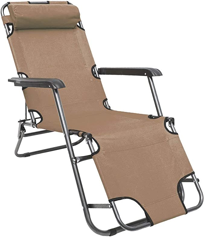 Amanka Folding Sun Lounger Foldable Deck Chair Reclining Garden Chair 153 Cm Leg Rest Reclining Back Headrest Beige Amazon Co Uk Garden Outdoors
