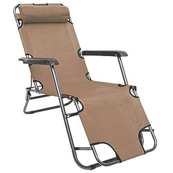 AMANKA Tumbona Plegable | Cómoda Silla de Playa 153 cm + Reposacabezas + Reposapiernas + Respaldo Reclinable | Beige