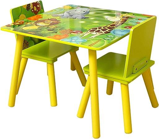 juego de mesa y silla para bebé de jardín de Infantes (una Mesa y Dos sillas) niños, Escritorio/Mesa de Juego, Patas de Mesa macizas: Amazon.es: Hogar