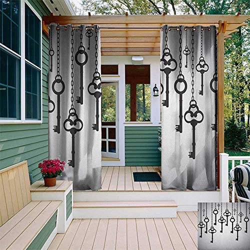 - leinuoyi Antique, Outdoor Curtain Kit, Silhouettes of Old Keys Hanging Chain Links Unlocking Security Home Opener, Outdoor Patio Curtains W72 x L96 Inch Pale Grey Black