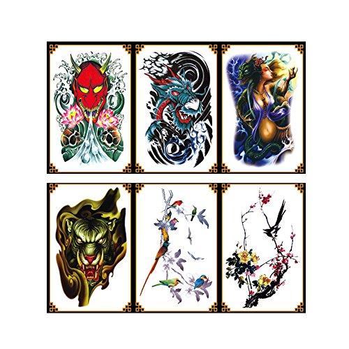 VanTattoo (6Sheets) Fashion Body Art Stickers Removable Waterproof Temporary Tattoo –Dragon, beautiful girl, dragon's head, skull, bird, plum blossom ()