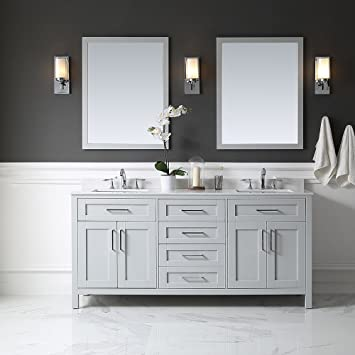 Ove Decors Tahoe 72G Marble Top Bathroom Double Sink Vanity  72 Inch by 21