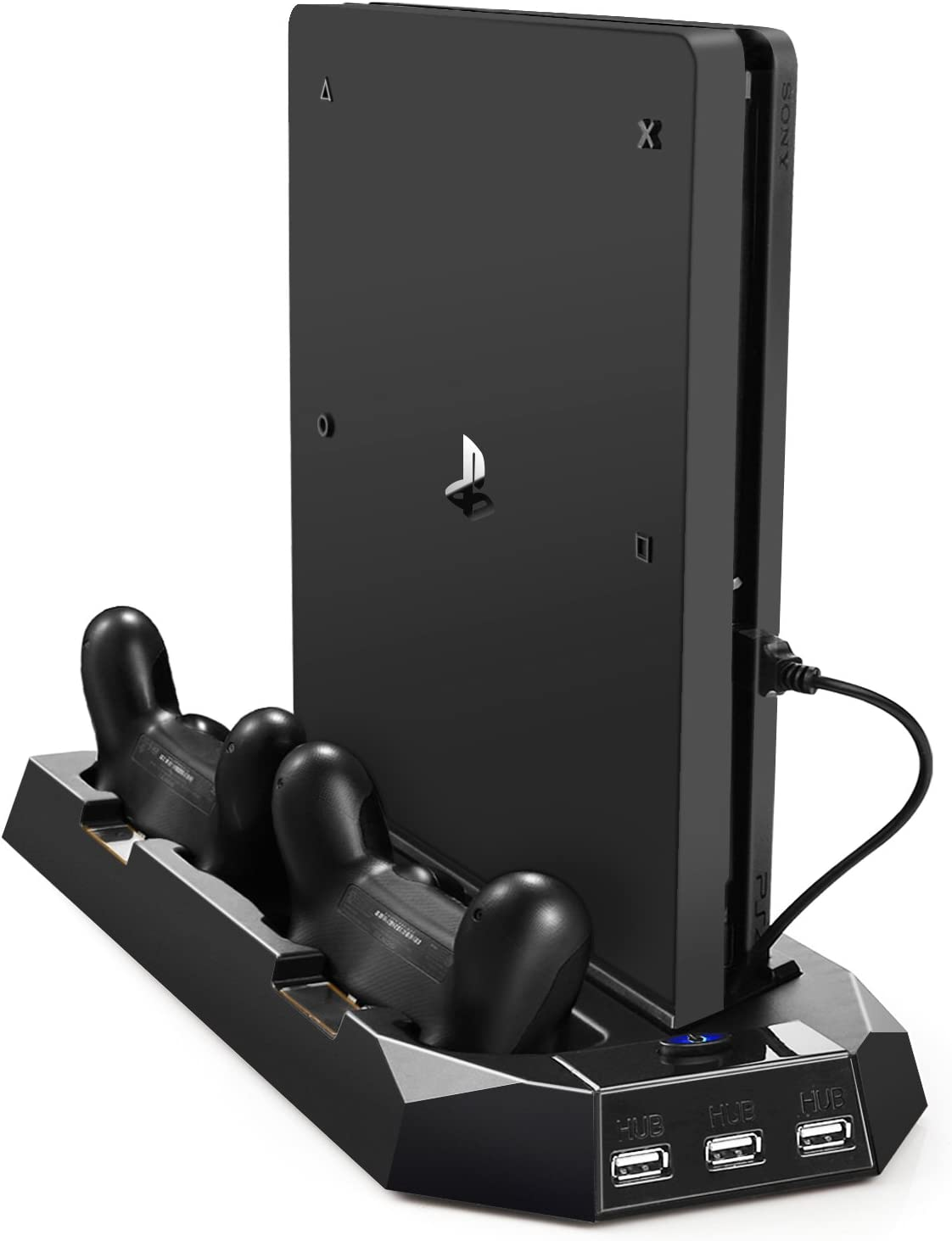 PECHAM Vertical Stand for PS4 Slim / PS4 with Cooling Fan, for Playstation 4/Slim Console, Dual Controller Charge Station, 3 HUB Port (Not for Pro)